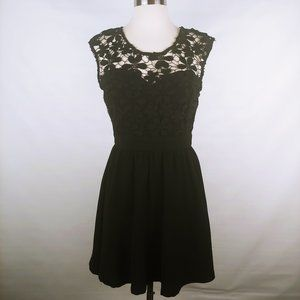 tea & cup black lace overlay dress size S